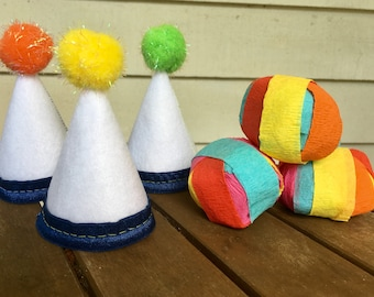 Party Package, Felt Birthday Party Hats, and Surprise Balls, Party Favors.