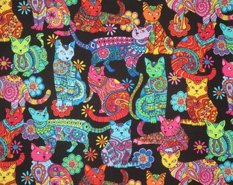 Colorful Kaleidoscope Cats Print Pure Cotton Fabric--One Yard