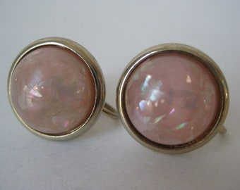 Pink Confetti Cab Earrings Gold Screw Vintage