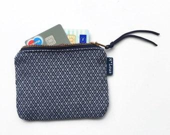 small zipper pouch vegan wallet coin wallet coin pouch zipper pouch zipper purse retro blue stripes cosmetic bag boho bohemian ByMlous