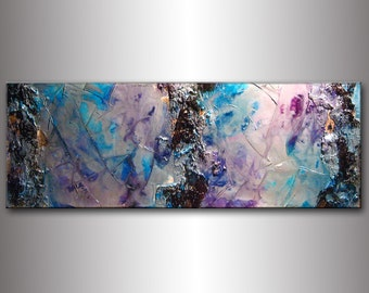 Abstract Painting, Original Textured Modern Abstract Painting, Silver Metallic Thick Texture Gallery Canvas Art Contemporary  By H Parsinia