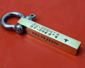 Personalized Coordinate Keychain,Latitude Longitude Location Keychain,Mens Custom Keychain,Custom Bar Keychain,Custom Coordinates Gift