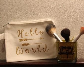 Hello World makeup bag and glitter brush holder