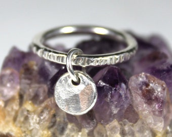 Riveted Fidget Pebble Ring, Anxiety Ring, Meditation Ring, Worry Ring, Sterling Silver Fidget Ring, Solid Recycled Sterling Silver Pebble