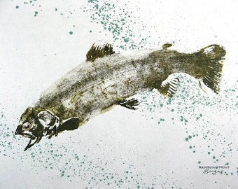 GYOTAKU fish Rubbing Rainbow Trout Spatter 8.5 X 11 quality Art Print Cottage Decor Fly Fishing by artist Barry Singer