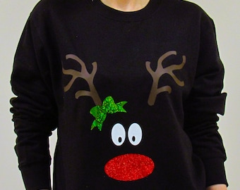 Reindeer Christmas Sweatshirt, Christmas Sweater, Holiday Sweatshirt, Ugly Christmas, Holiday Sweater, Christmas Jumper, Rudolph Sweatshirt