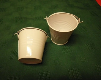 "Two miniature white metal buckets 2 and 1/8"" x 2.25"""