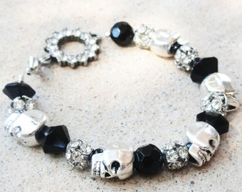 DiaDeLosMuertos Day of the Dead Halloween Black Silver Skull Rhinestone Beaded Rocker Bracelet By Distinctly Daisy