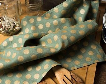 Linen Tea Towel Green with Gold Dots