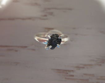 Rough Raw Conflict Free Black Diamond Sterling Silver Ring Size 8