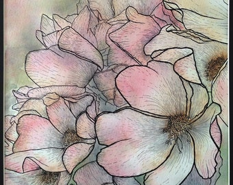 Ink and Watercolour Rose