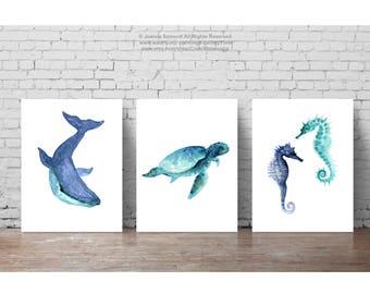 Oceanic Life Animal Art Blue Teal Watercolour Painting, Sea Creatures Print, Whale Illustration, Sea Horses Wall Decor, Seaturtle Seahorse
