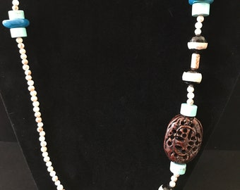 Carved Wood Jasper And Turquoise Agate Necklace