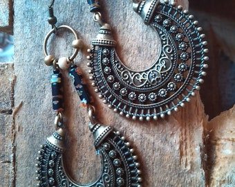 Bronze half-moon Millefiori earrings