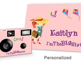 I'm The Big Sister Camera & Photo Album Set - in PINK - single use camera - can be PERSONALIZED with child's name - big sister gift