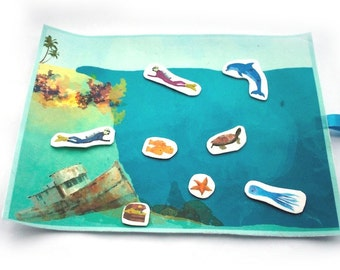 CLEARANCE - Playmat - Activity Mat - Montessori Travel Toy  - Underwater Play Set -  Ocean Quiet Book - Waldorf Fabric Toys