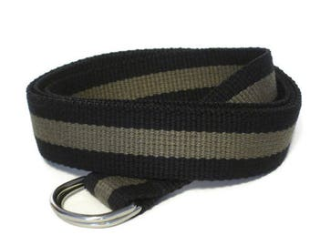 Canvas Belt Black Olive D-Ring Belt / Striped Belt Black Olive Green - for