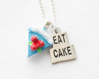 Personalized Baker's Gift, Eat Cake Necklace, Silver Cake Necklace, Baker's Necklace, Personalized Foodie Gift, Food Jewelry, Pastry Gift