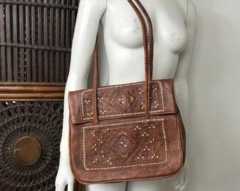 Vtg 70s moroccan brown leather embossed painted shoulder bag purse