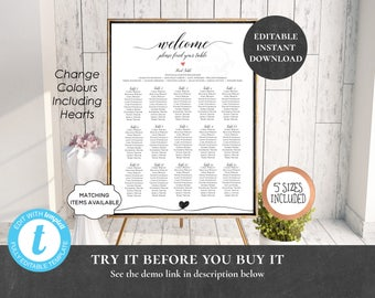Wedding Seating Chart Table Assignment Poster Reception Dinner Name Board Find Seat Plan Birthday Anniversary Benefit Shower Heart PCWDWS