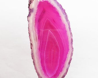 Natural Druzy Geode Agate Slice Candy Pink. 70x36x7 mm.