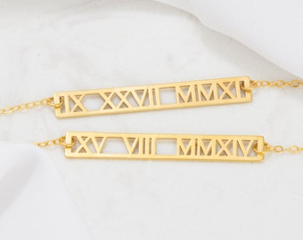 Roman Numerals Necklace • Cut-out Roman Numeral Gold Bar Necklace • Wedding Date Necklace • Wedding Gift • Personalized Gift NM24