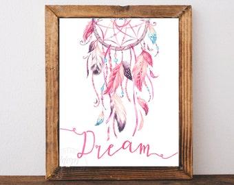 Dreamcatcher print, dreamcatcher art, dream catcher print, wall art, printable art, instant download, tribal print, dreamcatcher poster