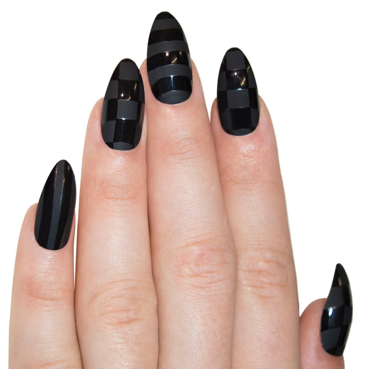 Bling Art Stiletto False Nails Fake Acrylic Black Matte Justice ...