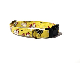 Chicken Run - Whimsical & Fun Country Farm Yellow Black White Chicken Rooster Organic Cotton CAT Collar - All Antique Metal Hardware