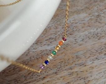 Multi Gemstone 7 Chakra Necklace Chakra Balancing Yoga Necklace Yoga Jewelry Yoga Gift Chakra Healing Necklace Crystal Chakra Jewelry