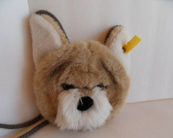 Steiff dog purse shoulder bag button flag made in Germany 1453