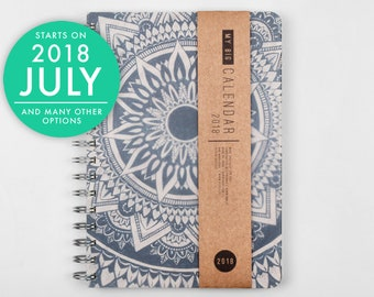 2018 2019 Planner with a high quality paper! Dreamy mandala design A5 Diary! Weekly Calendar Calendario Agenda Journal Open-dated available