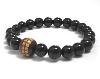 Mens Inspirational Jewelry, Buddhist Mantra Bracelet, Chinese Words Wood Bead Mala Bracelet, Mindfulness, Rehab Recovery Sobriety Bracelet