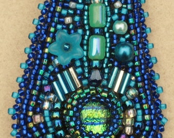 Bead Embroidered Brooch/Pin - Blues and Greens