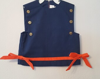 Vintage Girls Navy Blue Nautical Top with Red Trim and Brass Buttons by Charlena- Size 4- New, never worn