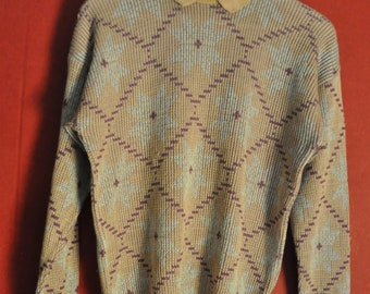 vintage 70s 80s sweater Multicolor beige Lavendel Pullover Size s small
