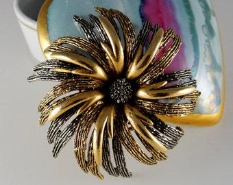 ART© Multi-Toned Dimensional Furled Flower Brooch