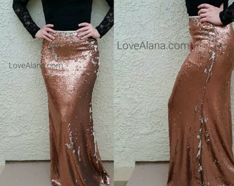 S/M only Bronze Flip-Over Sequin Maxi Skirt - Gorgeous high quality sequins. Heavy and classy