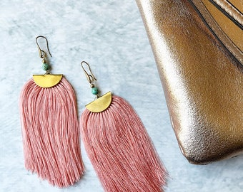 Long fringe earrings, statement earrings, tassel earrings, boho earrings, dangle earrings, drop earrings, gift for her, fashion earrings
