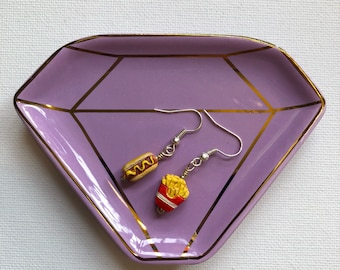 Free US shipping--Hotdog and fries earrings