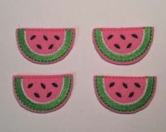 Pink Red Watermelon Slice Embroidered Felt Applique