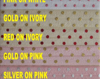 ON SALE - FOIL Dots Print Elastic From 1 - 20 yards - List color choices in notes to seller on checkout, choose any colors