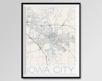 IOWA CITY Iowa Map, Iowa City City Map Print, Iowa City Map Poster, Iowa City Wall Art, Iowa City gift, Custom city, University of Iowa