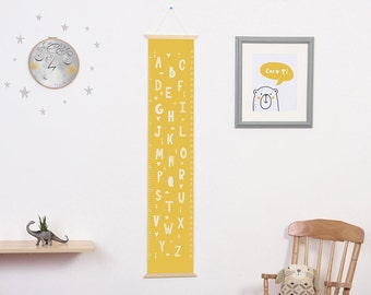 Canvas height chart, yellow alphabet print, kid's growth chart, nursery wall hanging, giclee print, centimeters and inches.