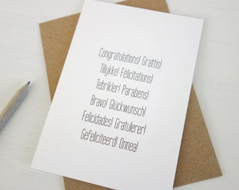 Congratulations card languages congrats greeting card many different languages