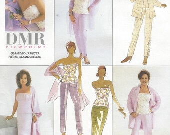 Womens Glamorous Separates Unlined Jacket, Lined Bustier, Pants, Skirt & Stole McCalls Sewing Pattern 3067 Size 14 16 18 Bust 36 38 40 FF