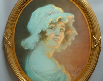 art nouveau original lithograph René  Péan