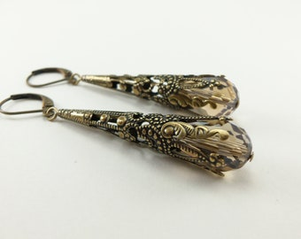 Smoky Brown Dangle Earrings Victorian Jewelry Light Brown Taupe Earrings