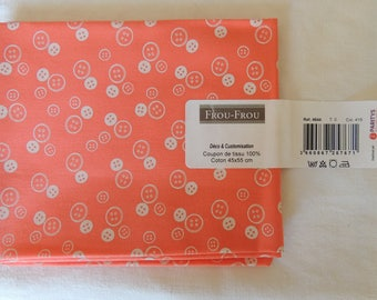 I Love sewing pattern buttons coral/Ivory Pearl cotton fabric coupon