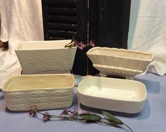 Vintage Planters in Shades of White